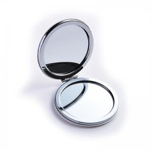 China Customized White Round Pocket Mirror , Leather Compact Mirror Any Size on sale