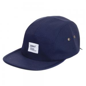 China Dark Blue Strap Back Hats With Embroidered Logo For Men With Velcro Buckle on sale