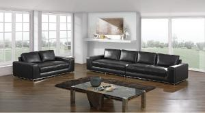 China Modern Black Leather Sectional Sofas , Classic Luxury Leather Sofa Set on sale