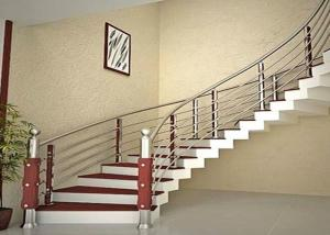 China Curved Stainless Steel Railing / Interior Metal Stair Railing Good Horizontal Load Resistance on sale