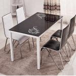 Tempered Glass Top Dining Room Table With Powder Coating Counter legs with different color different chairs