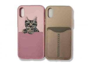 China Pocket Back Cell Phone Silicone Cases for iPhone X Case Protecting Pink / Khaki Color on sale