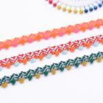 Crafts Woven 1.2cm Mixed Colour Pom Pom Trim
