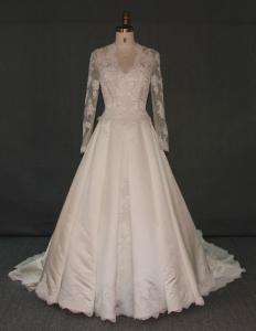 China Tulle Sleeves Sweetheart Neckline Wedding Dress Lace Over Heavy Satin Flowers on sale