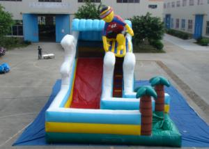 China Surfboard Man Outdoor Inflatable Water Slide , Party Big Blow Up Water Slides on sale