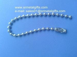 China Custom made precut steel ball chain with coupling connector on sale
