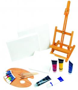 China 21pcs Art Painting Set With Table Easel / Palette / Canvas / Brushes / Colors on sale