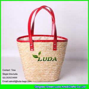 Quality LUDA wholesale handbags red leather handles tote straw beach hand  bags for sale 24797d9493271