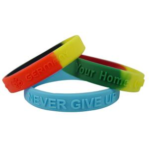 China Embossed Silicone Wristband on sale