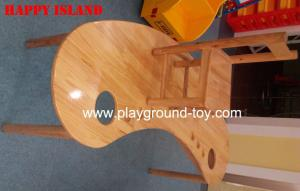 China Moon Shape Nature Wood Classroom Furniture Tables For Child Day Care Centre Use on sale