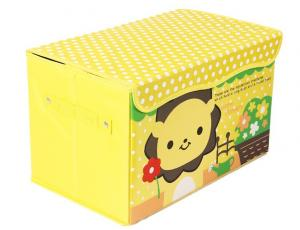 China Fabric Foldable Colorful Yellow Cartoon Inen Storage Boxes With Handle on sale