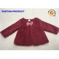 Chiffon Bow Toddler Girl Fleece Jacket , Infant Fleece Jacket Long Sleeve A Shape