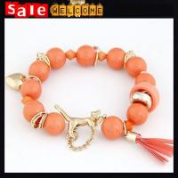 Golden Opal Crystal Beads Animal Tiger Metal Alloy Chain Heart Tassel Bangle Bracelets