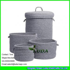 China LUDA home decoration basket grey fashion cotton sundries sotrage basket with lid on sale