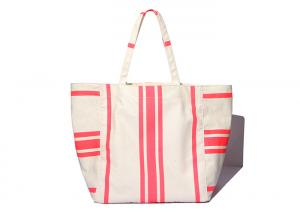 China 600D Polyester Canvas Tote Bags Striped Print Environmental Protection on sale