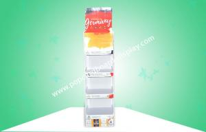 China Heavy-duty Four Sheves Pop Cardboard Display Stands Promoting Beer Drinks Etc on sale