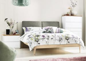 China Modern Bedroom Furniture Set White Gloss/Matt/ Bedroom Furniture Sets with Fabric Bed Head on sale