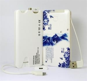 China 5000mah Portable USB Power Bank , Li-Polymer Power Bank 5000mah Built In Cables on sale