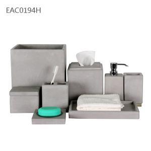 China 8 部分の浴室の正方形の具体的なタンブラー/自然で具体的なティッシュ箱 on sale