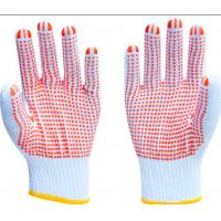 China PVC Dots Coated Cotton Knitted Hand Gloves , White Cotton Knit Gloves For Safety Working on sale