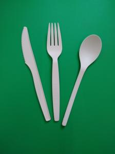 China disposable biodegradable & 100% compostable PLA cutlery Knife/fork/spoon in white, 165&160mm on sale