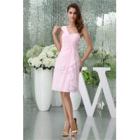 Knee-Length Light Pink Chiffon One Shoulder Bridesmaid Dress