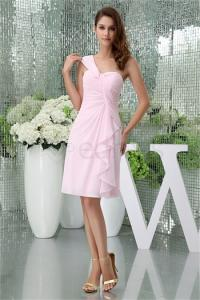 China Knee-Length Light Pink Chiffon One Shoulder Bridesmaid Dress on sale
