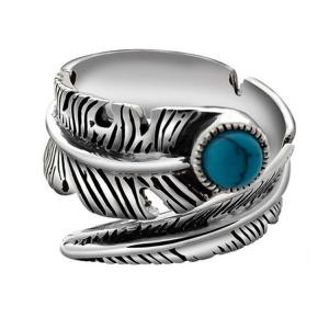 China Turquoise Adjustable Tribal Feather Ring 925 Sterling Silver Band Ring (024952) on sale