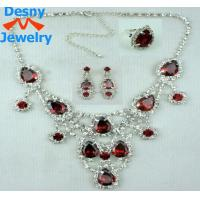 Dasiy precious red genstone teardrop ruby necklace and earrings fine jewelry set
