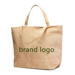 China custom logo printing large jute carrier bags promotional burlap shopping bags on sale