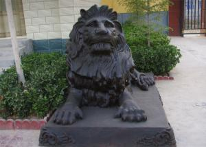 China Custom Cast Metal Antique Bronze Sitting Lion Statue for Outdoor on sale