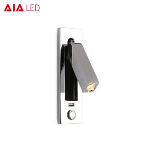 China Modern push-button switch led wall bed light IP20 led wall bedside lamp 3W led wall book lights on sale