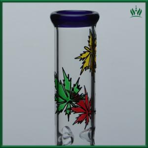 China Colorful Deep Carving Glass Water Bongs 14 Inches With 6 Tree Arms Percolator on sale