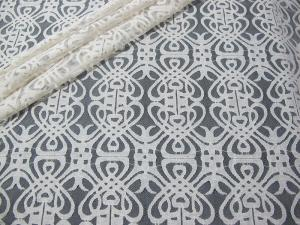 China Grey Voile Cotton Nylon Lace Fabric / Elastic Knitted Lace Fabric SYD-0003 on sale