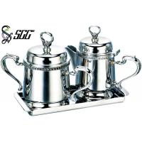 China Mini And Elegant Stainless Steel Afternoon Tea Tableware Milk Pot And Sugar Jug with Tray on sale