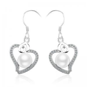 China Hand Made Sterling Silver Earring Drop Earrings Pave CZ With Round Natural Pearl Heart Shape on sale