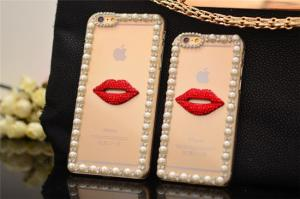 China (diamond DIY Cute Red Lip ) Iphone6 4.7 5S inch Mobile Phone Case Pouch on sale