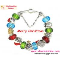 Hot sales 2014 Christmas fashion jewelry bracelet murano beads santa chrismas tree snowman