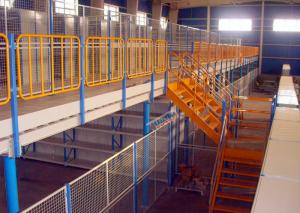 China H Beams Round Pipes Structural Mezzanine Warehouse Storage Racks 1000 Kg Per Sqm on sale