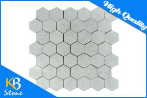 China Marble Honed 1 Hexagon Carrara White Mosaic Tile Mesh Exterior / Interior Decorative Wall Tiles on sale