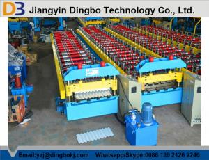 China Hydraulic Control Roof Panel Roll Forming Machine Automatic Stacking Machine Chain Transmission on sale