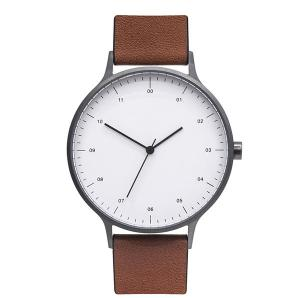 China Minimalist Brown Leather Band Watch , Mens Designer Watches Brown Leather Strap on sale
