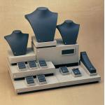 Cream Black Combination Jewelry Display Stands Set MDF with leatherette