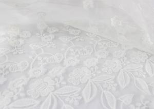 China White Floral Guipure Embroidery Lace Fabric / Sequin Bridal Mesh Fabric For Wedding Dress on sale