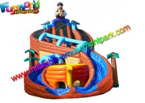 China Shipwreck Pirate Outdoor Inflatable Water Slides  , Inflatable Water Pool Slides With Tree on sale