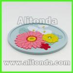 Custom soft pvc cartoon cute animal flower fruit coaster for tea cup