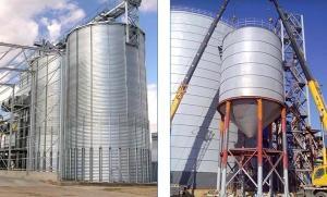 China 1000 Ton Hopper Bottom Grain Bins / Grain Storage Bins For Rice Wheat Bean Seed on sale