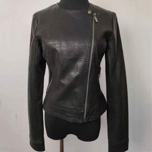 China Slim Fit Fashion Ladies Jackets , Short Black Faux Leather Jacket on sale