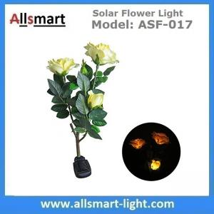 China 3LED Yellow Solar Rose Flower Lights Stem Solar Powered Garden Lamp Outdoor Decorative Landscape LED Rose Lights on sale