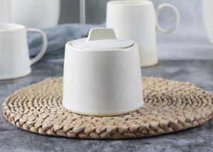 China Handmade Style Ceramic Sugar Pot / Sugar Container 300ml With Ivory Reactive Color on sale